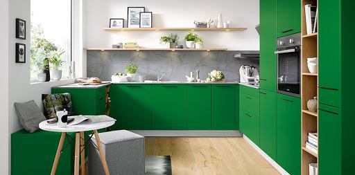 Bold Green coloured Kitchen
