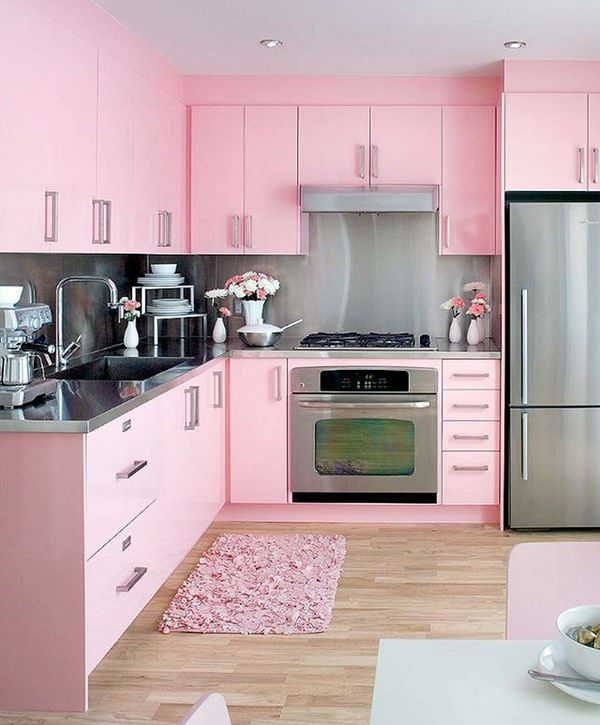 Colourful bright Pink Kitchen