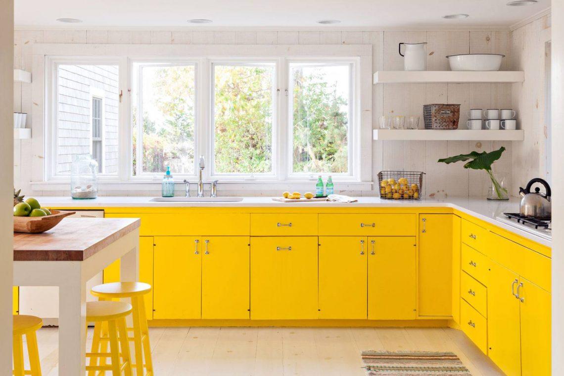 Yellow Farmhouse colourful kitchen
