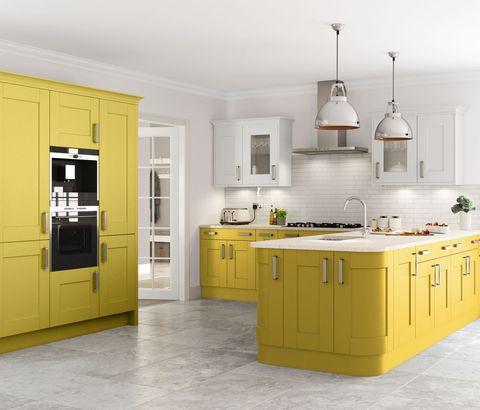 Pale yellow and smoke kitchen