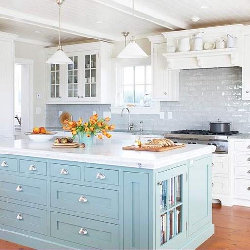 Beautiful Light Blue And White Kitchen