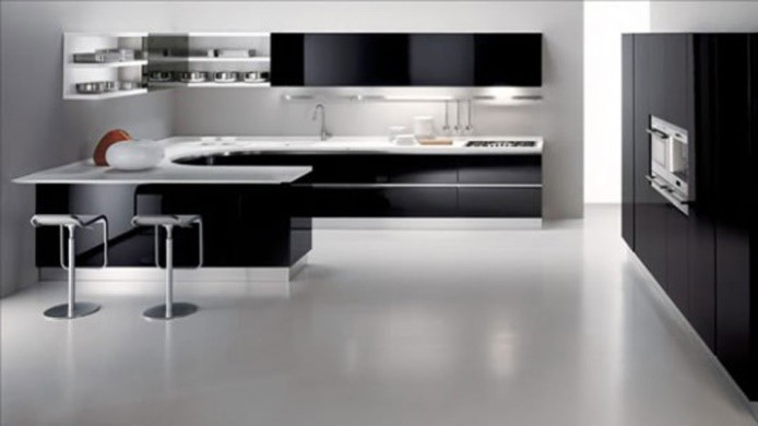 Black Kitchen With White Accents