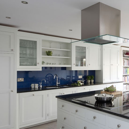Blue Accents For White Kitchen