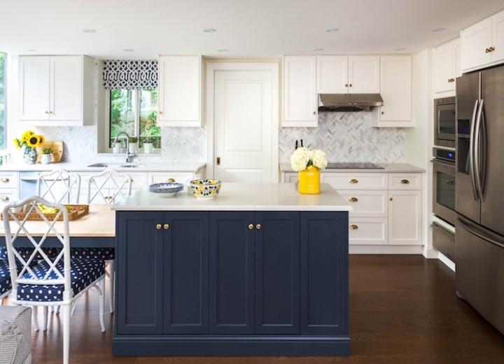 Blue Island In A White Kitchen