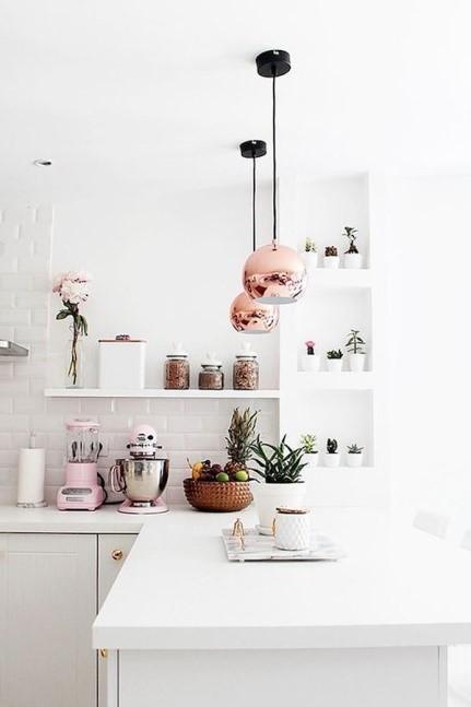 White Kitchen With Copper