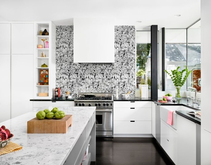 Bold patterns To Shake Up Monochrome Kitchen