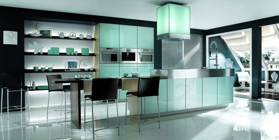 Green Accents For Monochrome Kitchen