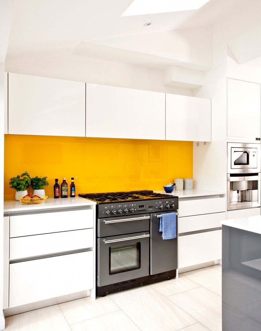 Yellow Livens Up White Kitchen
